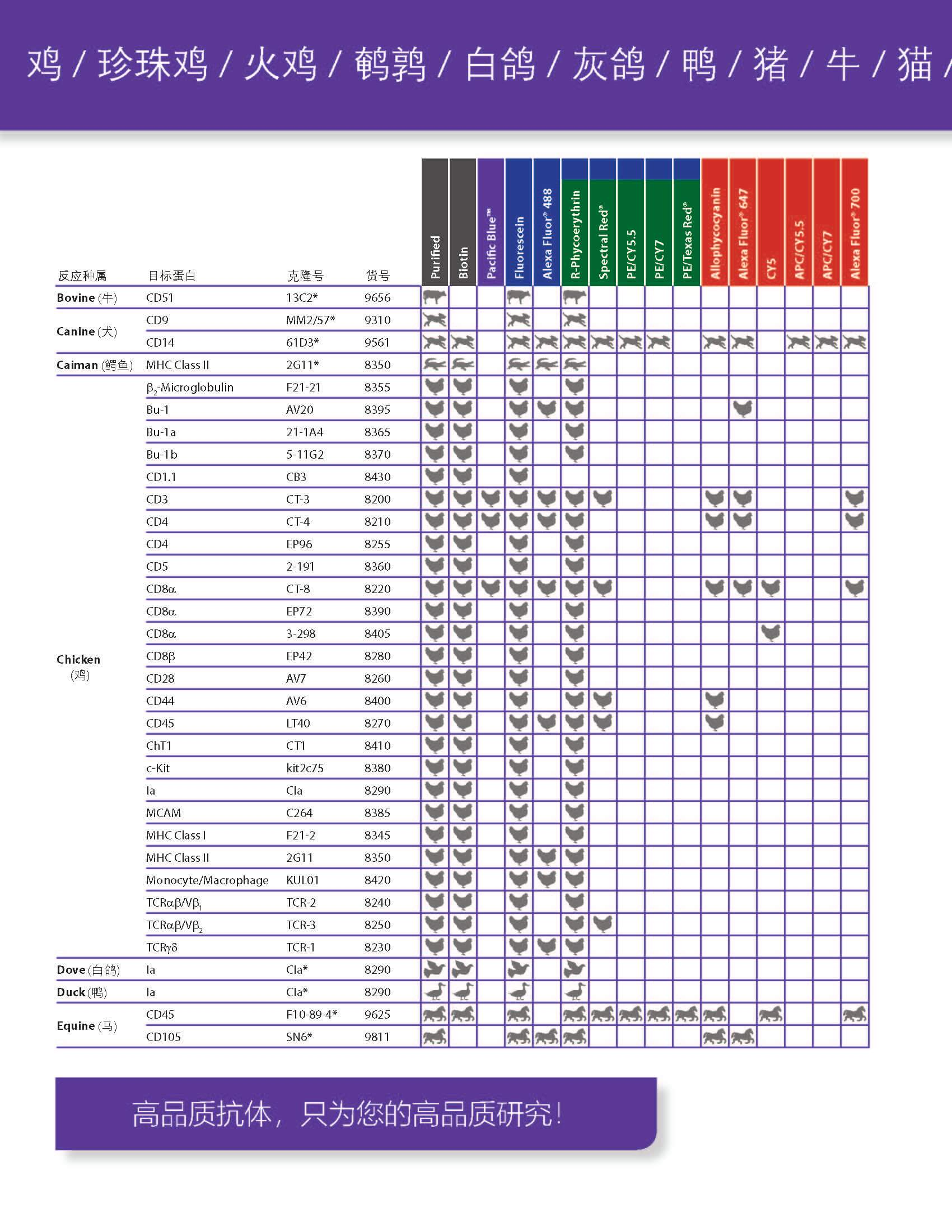 SouthernBiotech兽-禽类-细胞表面蛋白抗体单页