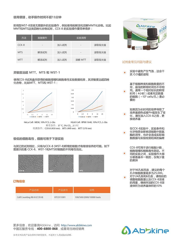 CCK-8细胞增殖/毒性检测试剂盒-产品手册