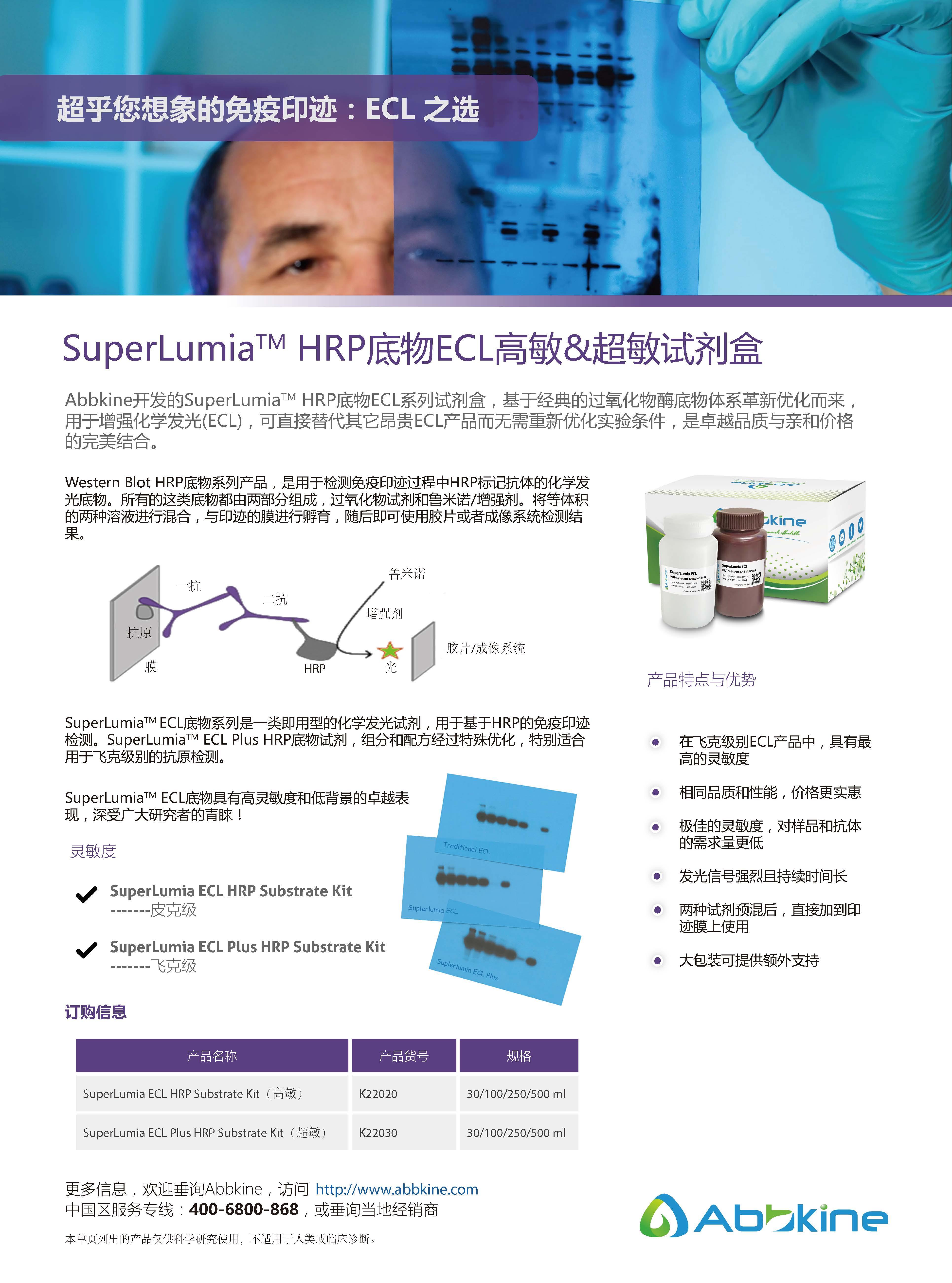 SuperLumia HRP底物ECL高敏&超敏试剂盒-产品手册